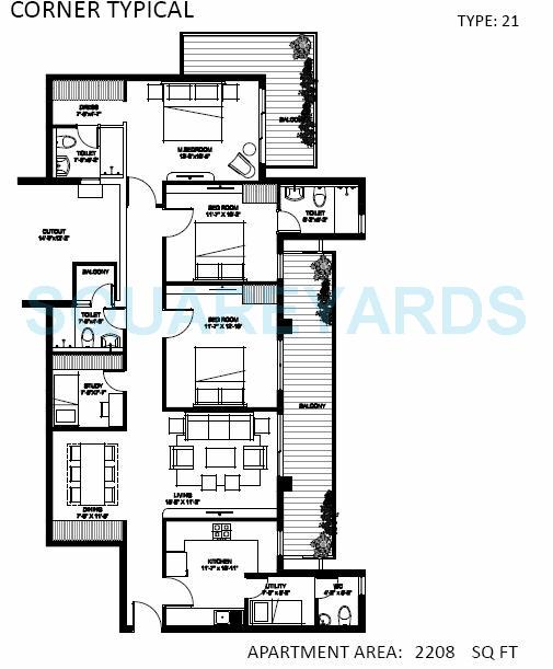 spire woods apartment 3bhk 2208sqft 1
