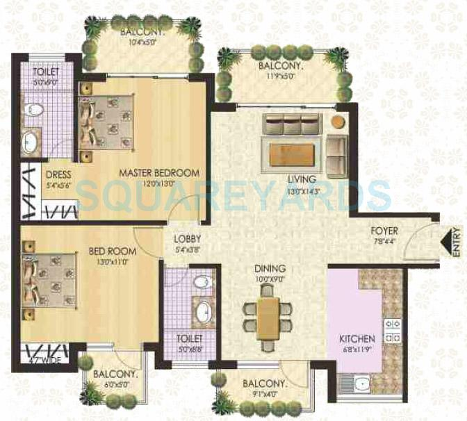 ss the coralwood apartment 2bhk 1425sqft type f 1