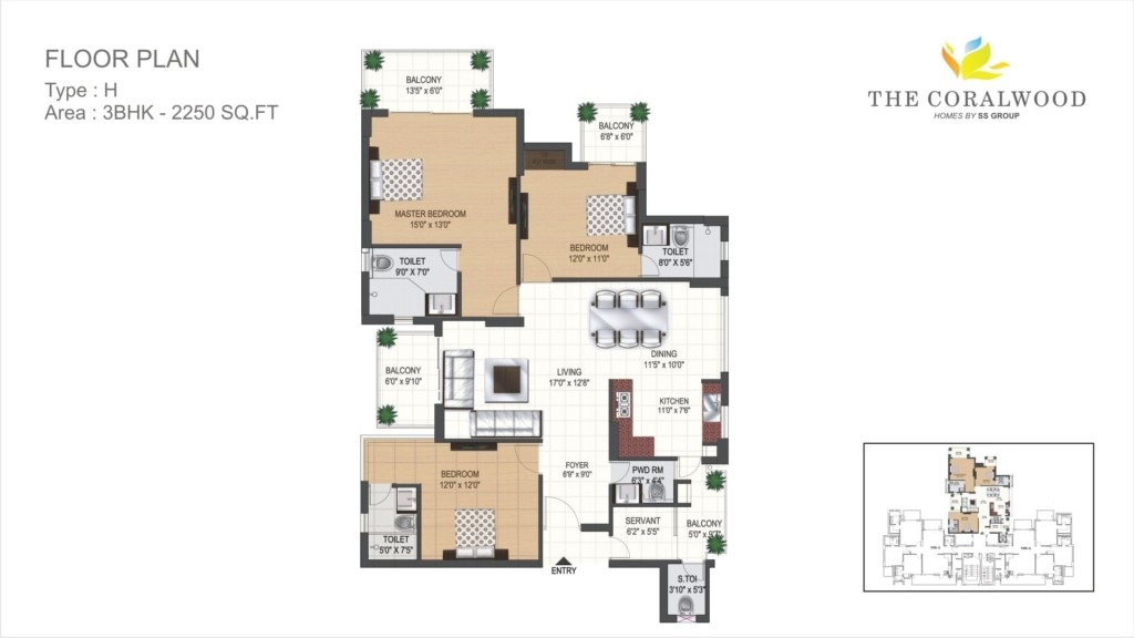 ss the coralwood apartment 3bhk 2250sqft type h 81