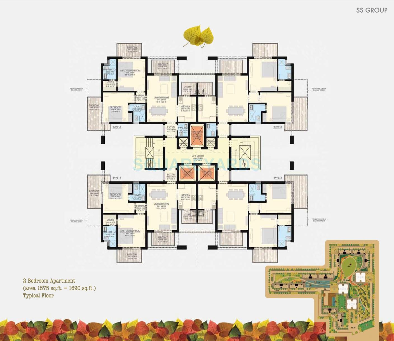 ss the leaf apartment 2bhk 1575sqft 1