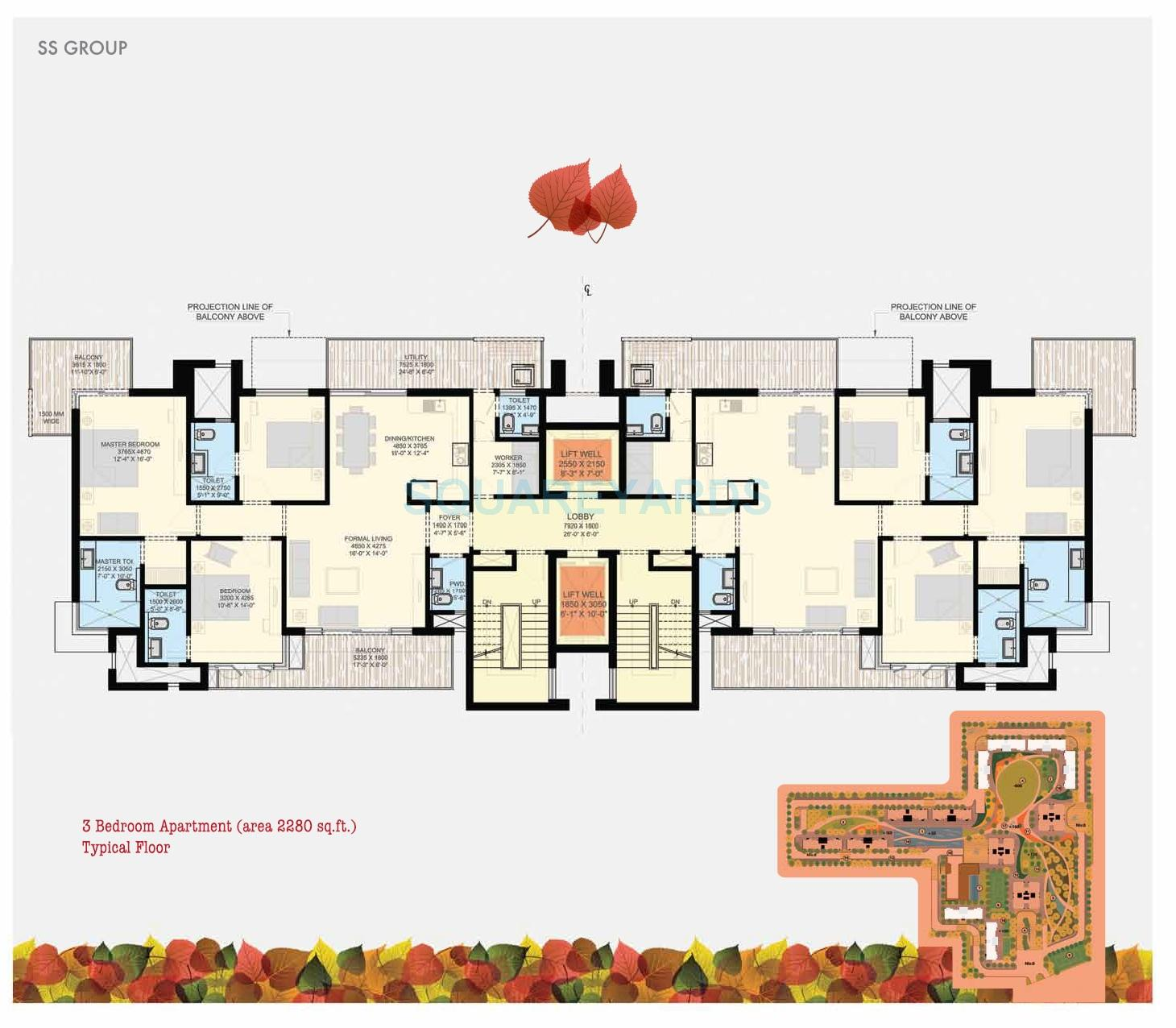ss the leaf apartment 3bhk 2280sqft 1