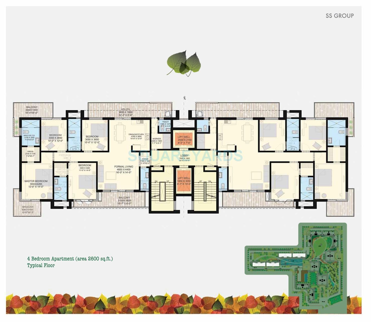 Low Cost Apartment: 4 BHK 2600 Sq. Ft. Apartment For Sale In SS The Leaf At Rs