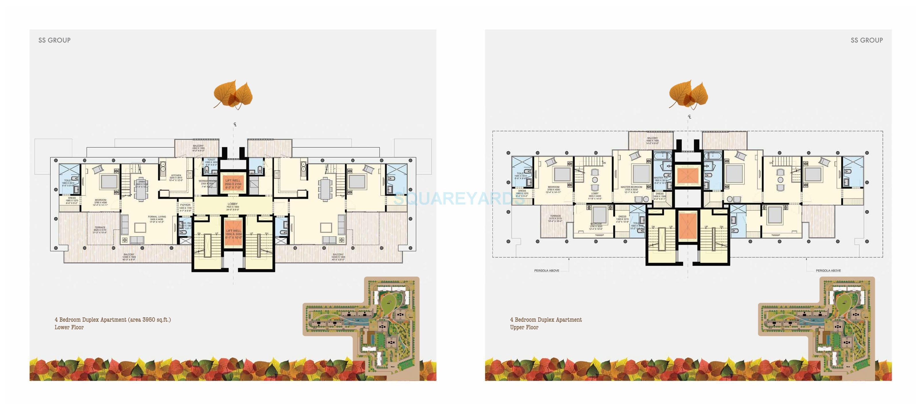 ss the leaf duplex apartment 4bhk 3950sqft 1