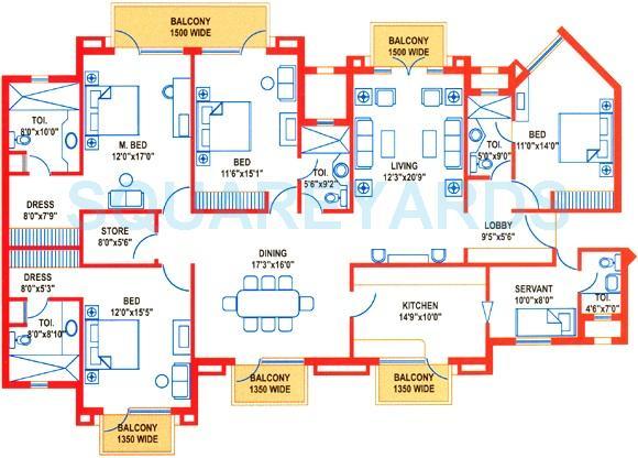 suncity heights apartment 4bhk sq 2868sqft 1
