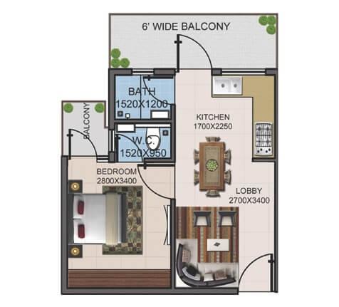 supertech basera apartment 1bhk 404sqft 1