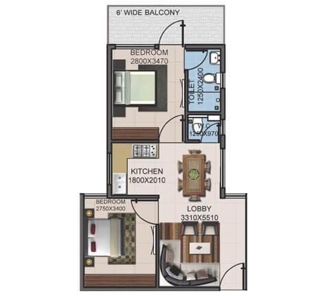 supertech basera apartment 2bhk 546sqft 1