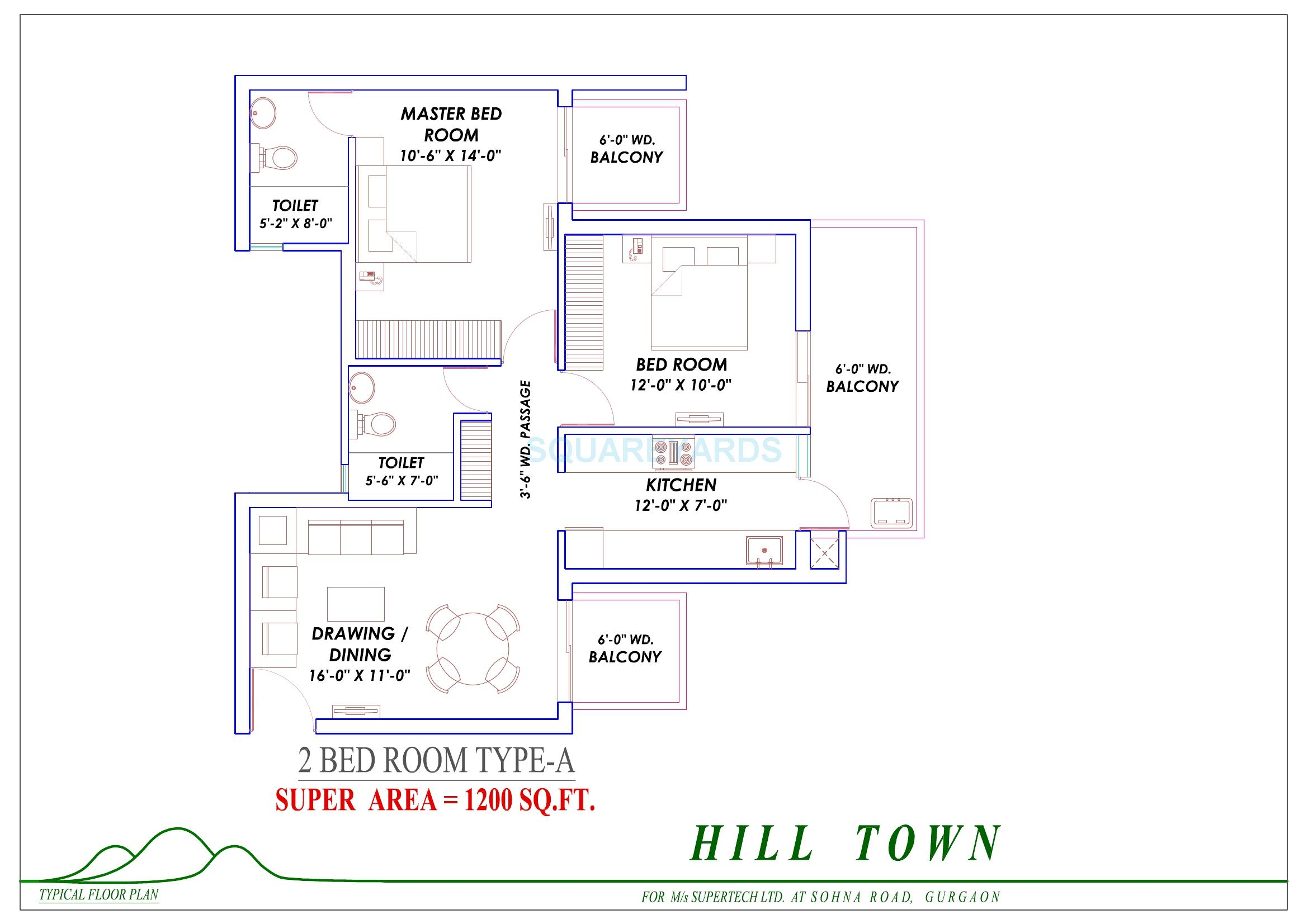 2 bhk 1200 sq ft apartment for sale in supertech hill for Apartment plans 1200 sq ft