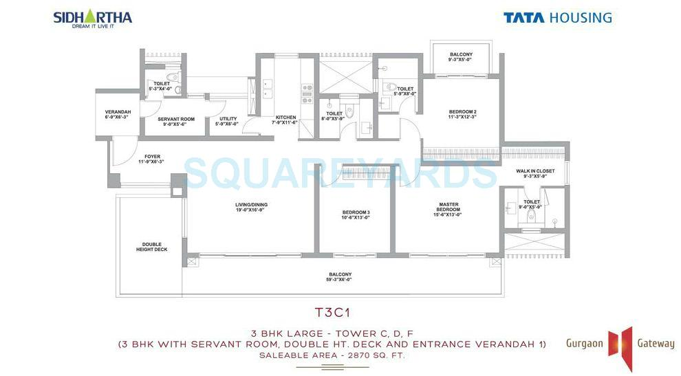 tata housing gurgaon gateway apartment 3bhk sq 2870sqft 1