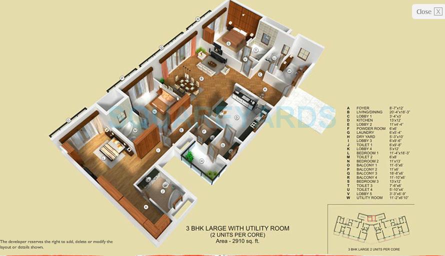 tata raheja raisina residency apartment 3bhk 2910sqft 1