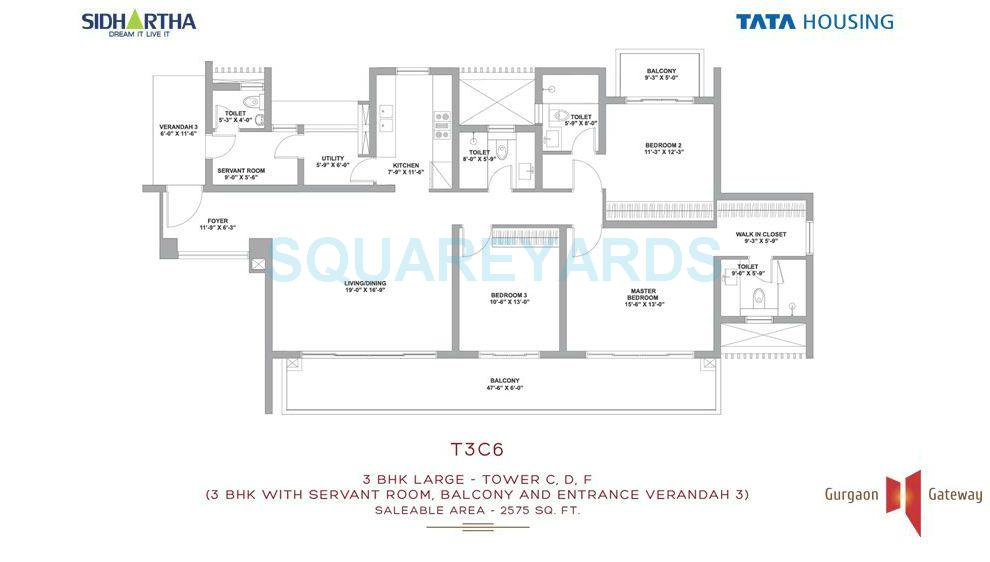tata raheja raisina residency apartment 3bhk sq 2575sqft 1