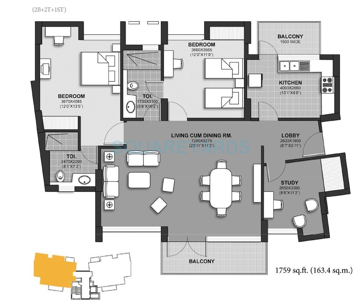 unitech harmony apartment 2b 2t 1st 1759sqft 1