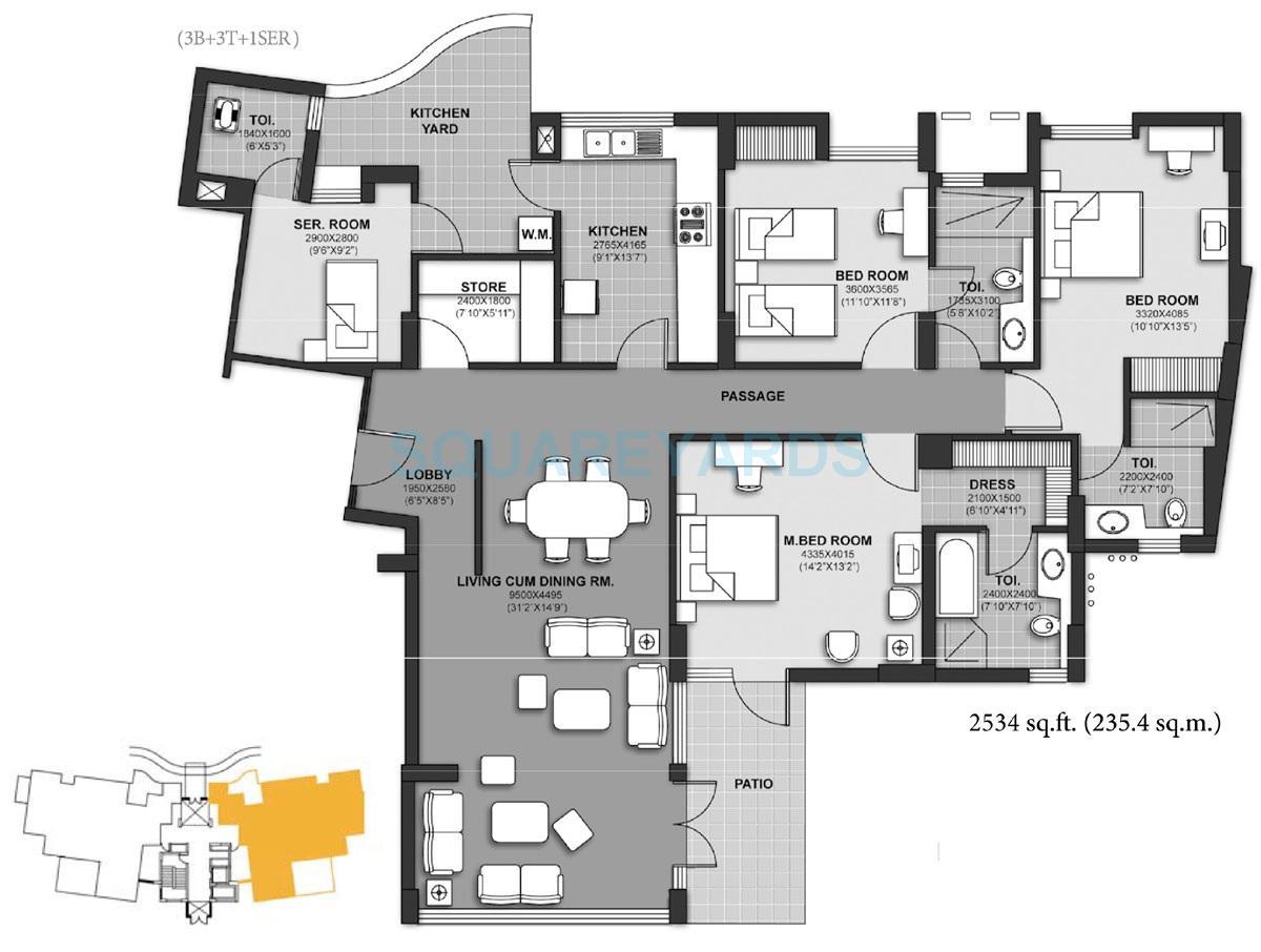 unitech harmony apartment 3b 3t 1ser 2534sqft 1