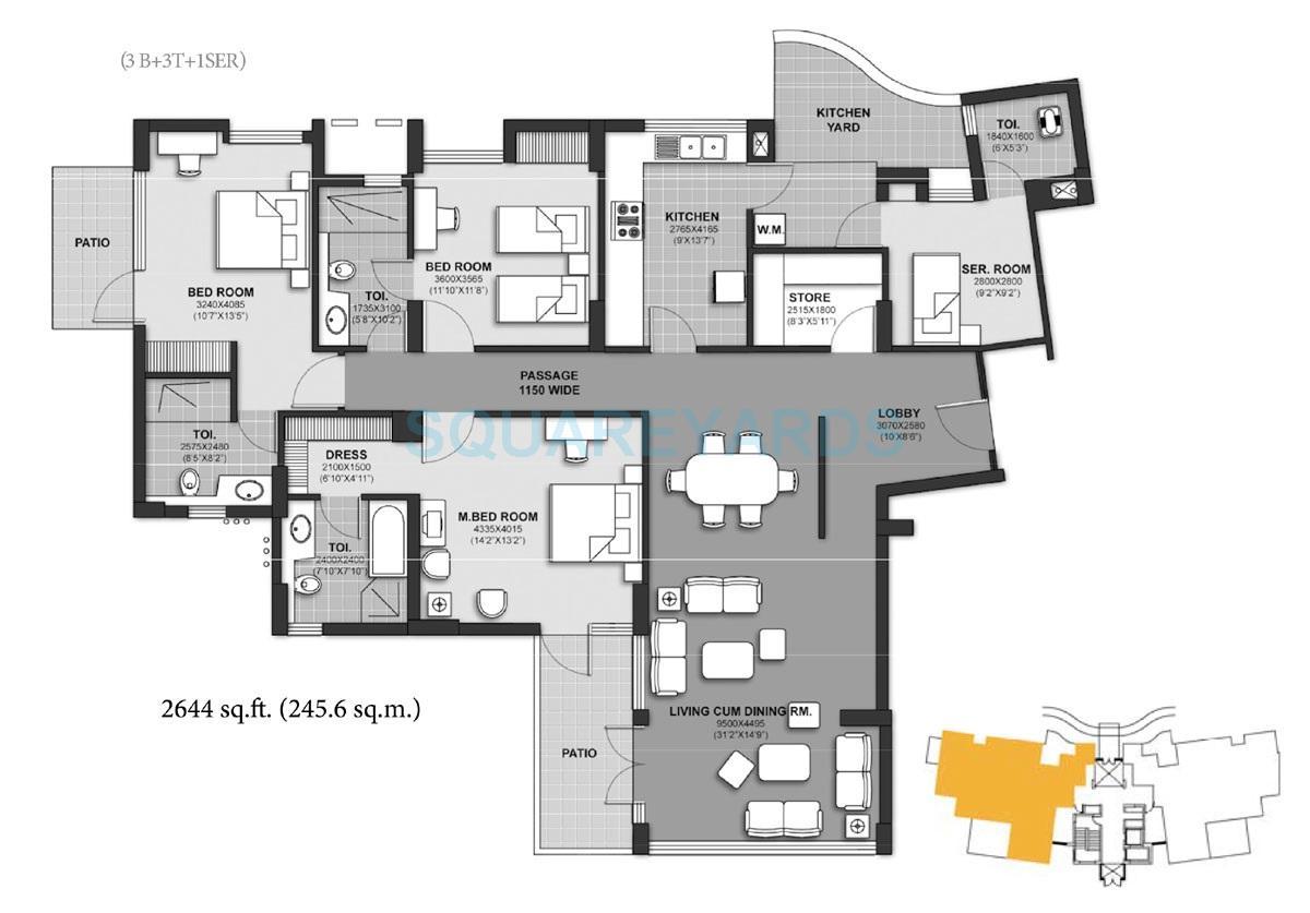 unitech harmony apartment 3b 3t 1ser 2644sqft 1