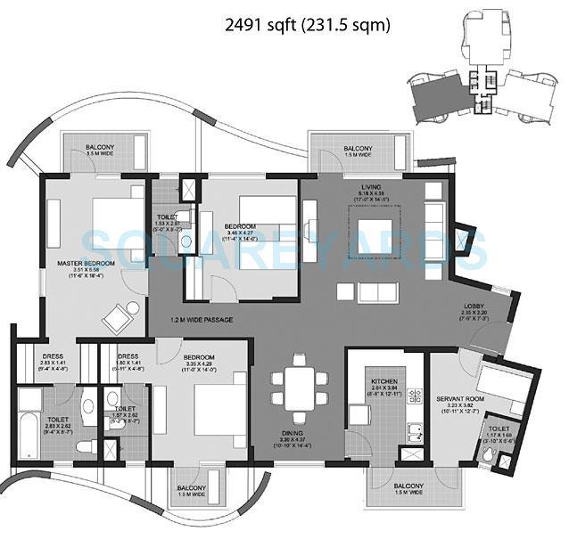 unitech the close south apartment 3bhk 2491sqft 1