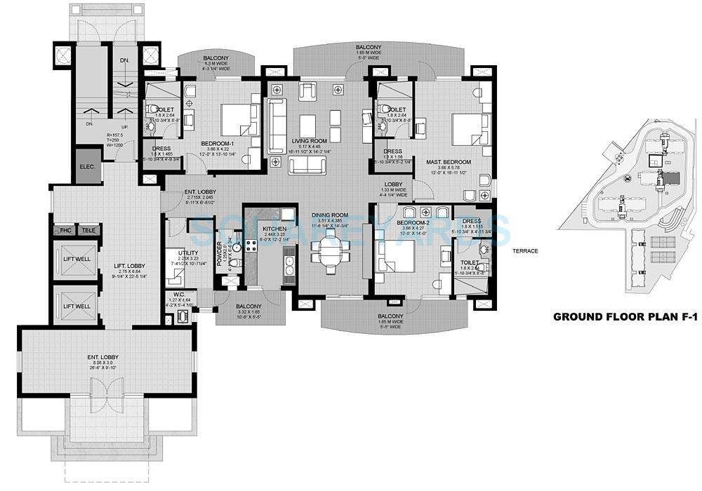 unitech uniworld city apartment 3bhk 2700sqft 1