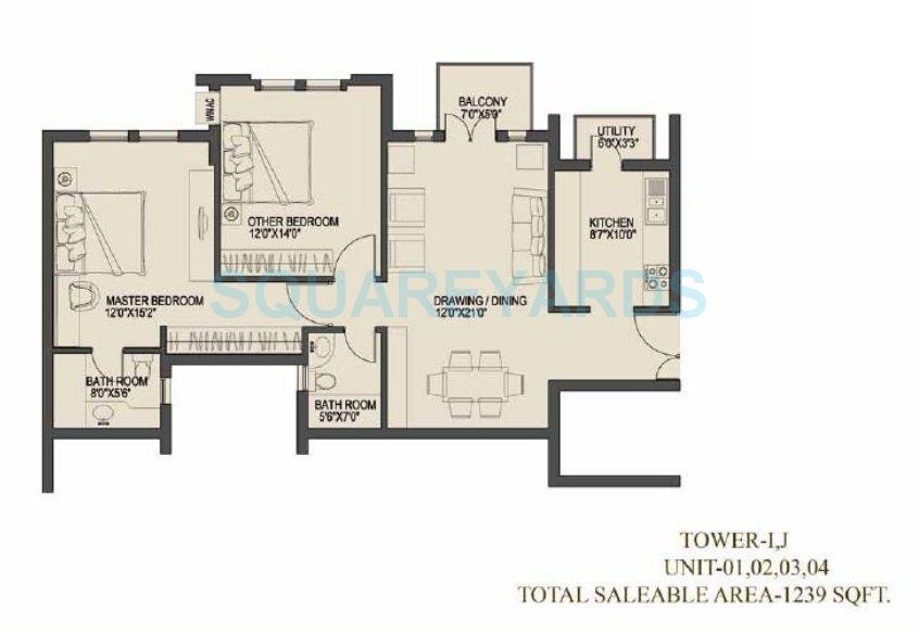 uppals canary homes apartment 2bhk 1239sqft 1