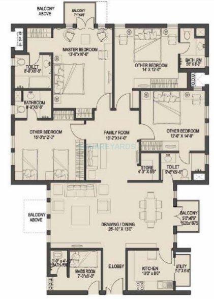 uppals canary homes apartment 4bhk sq 2343sqft 1