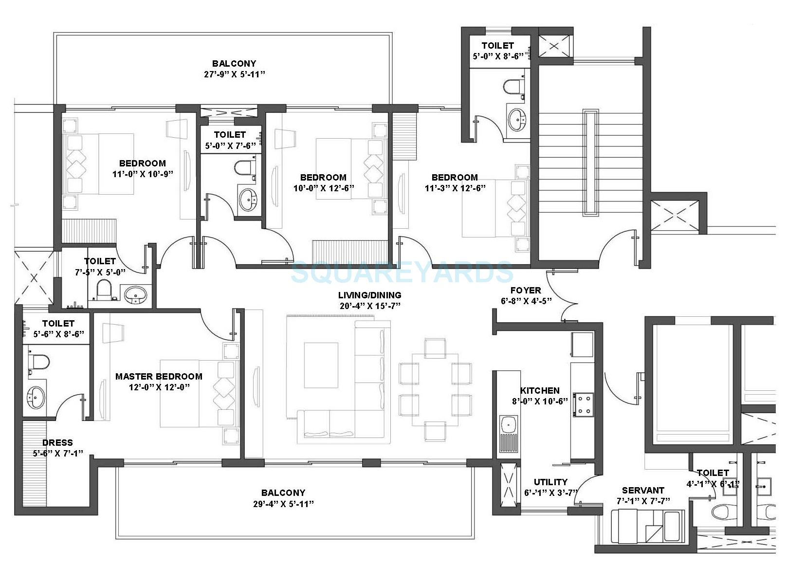 Group housing floor plans escortsea for 2500 sq ft apartment plans