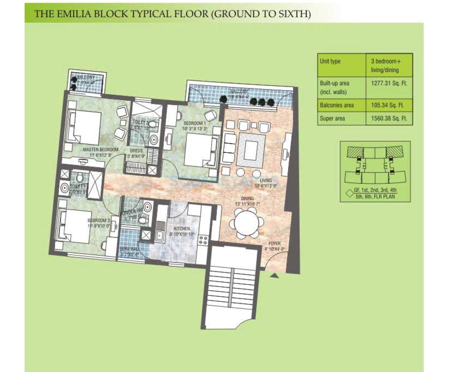 vatika city emilia apartment 3bhk 1560 38sqft 1