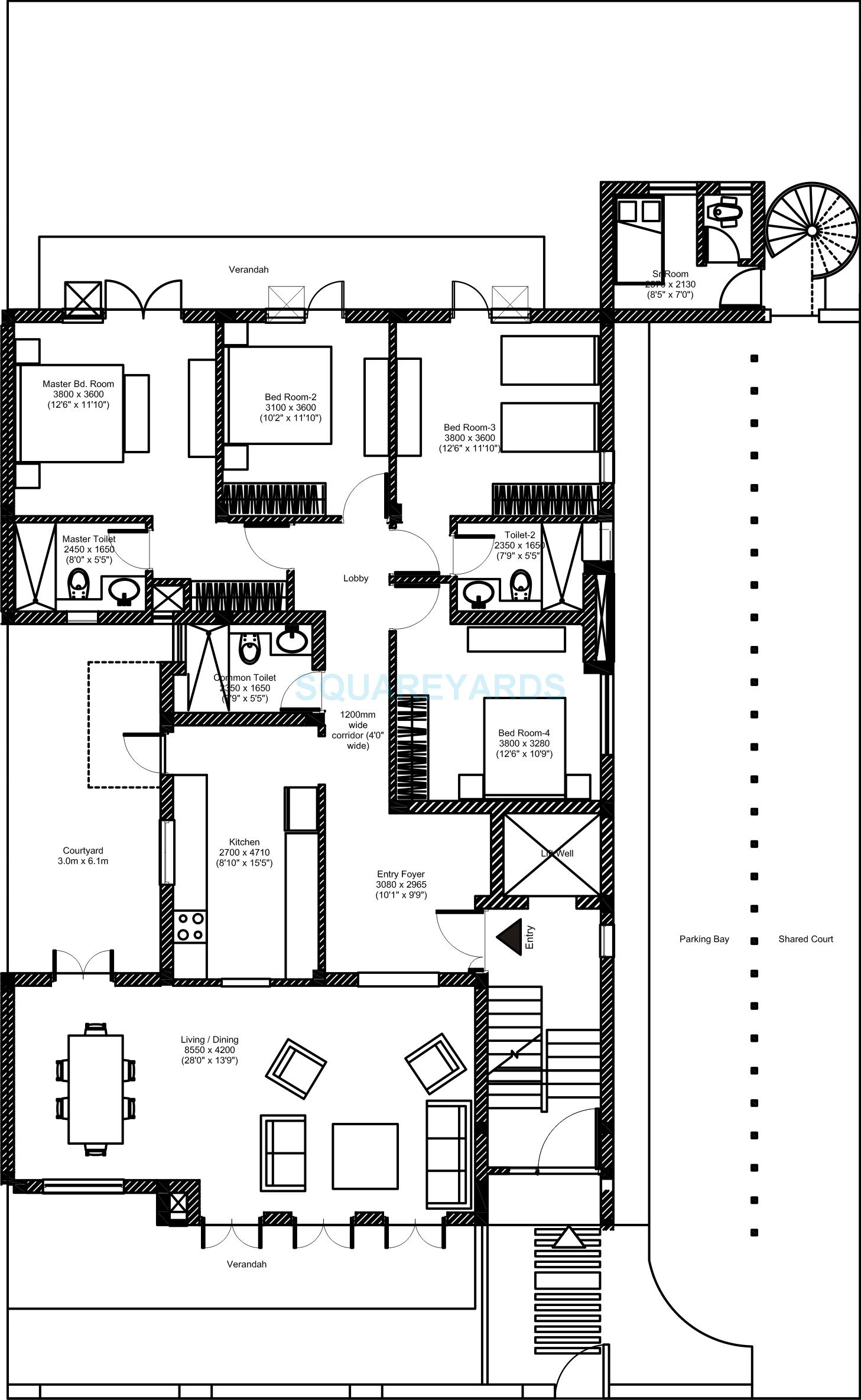 vatika inxt floors builder floor gf 4bhk 4402 44sqft 1