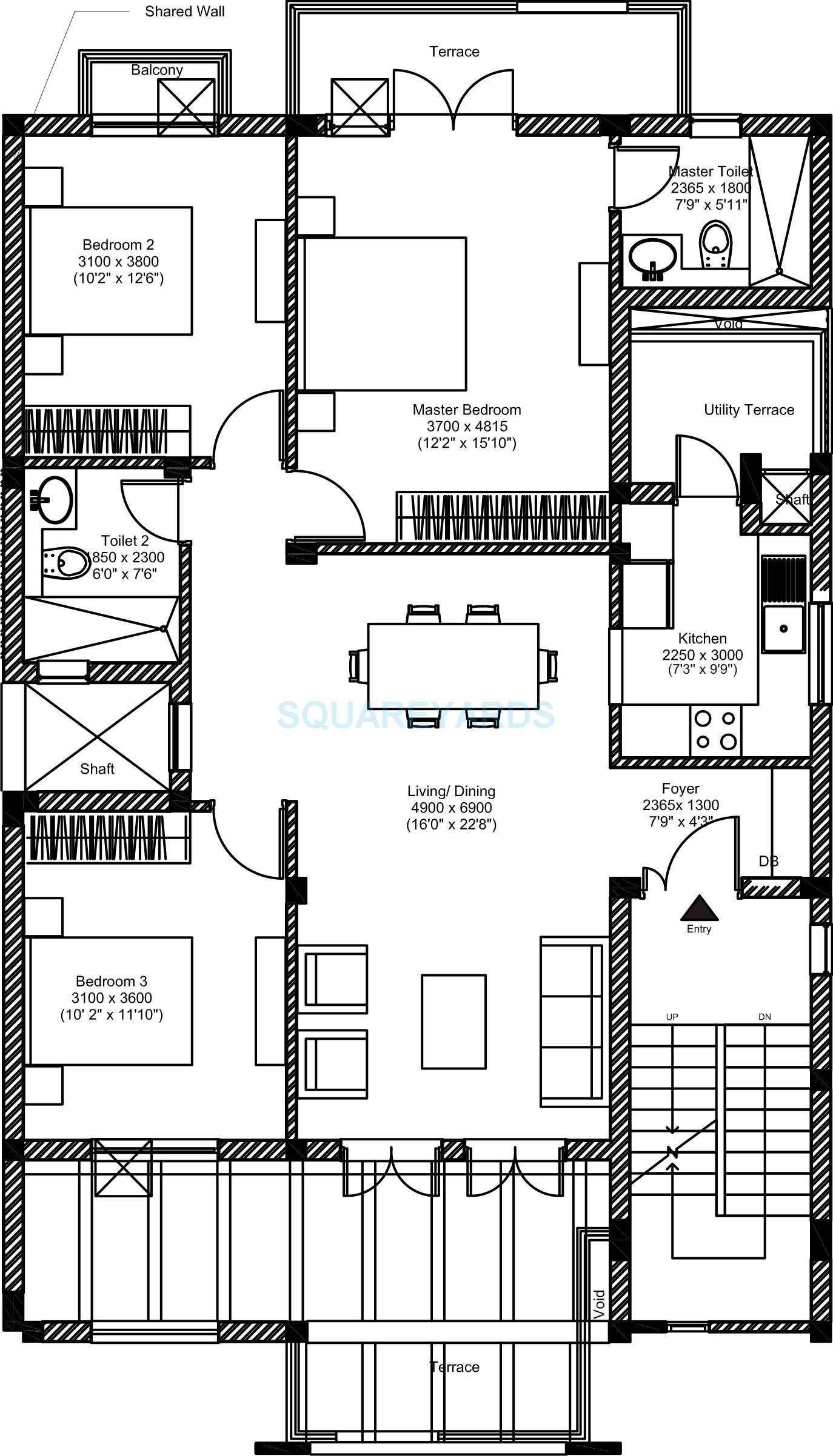 3 BHK 1386 Sq. Ft. Ind Floor