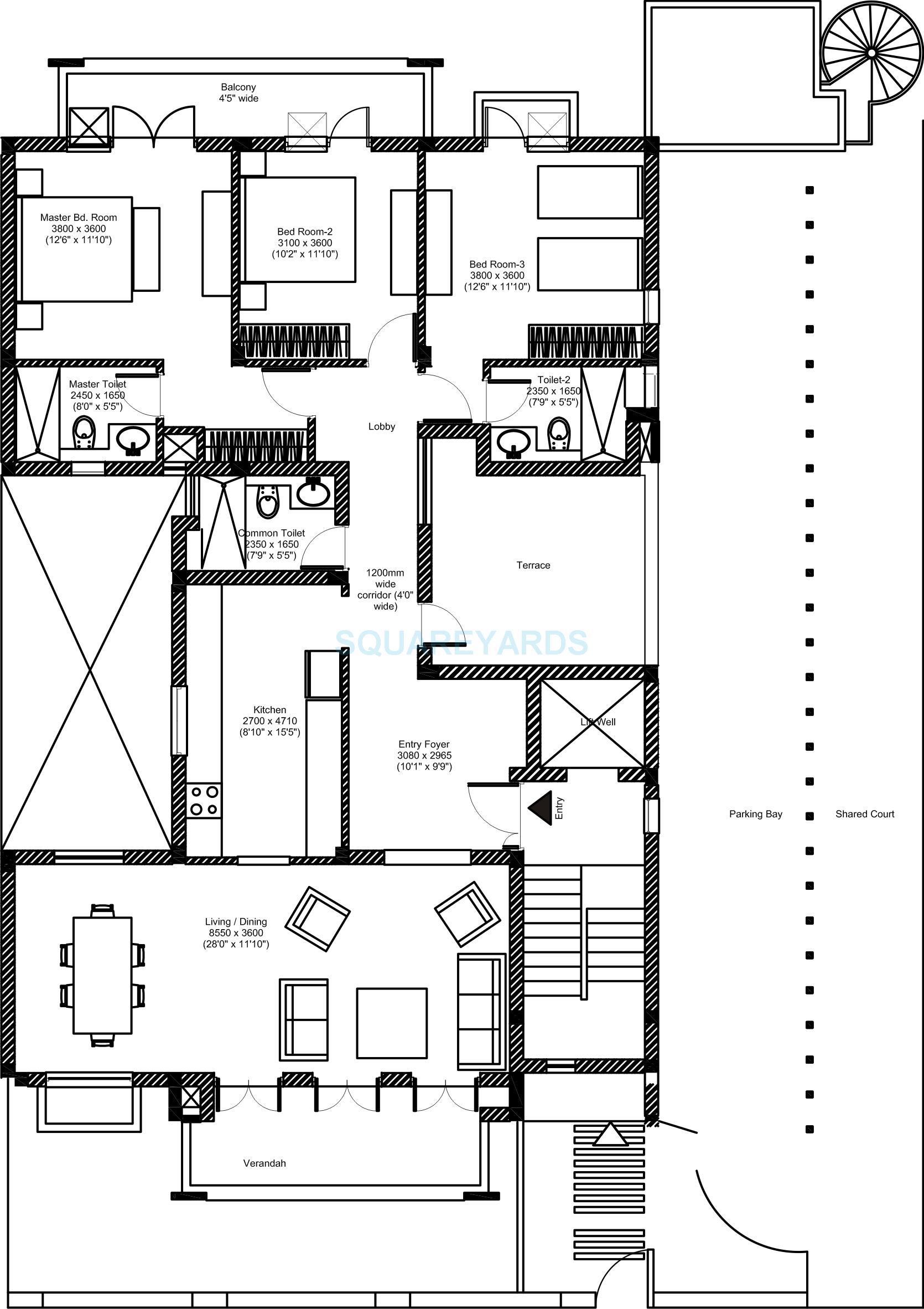 vatika inxt floors builder floor sf 3bhk 4402 44sqft 1