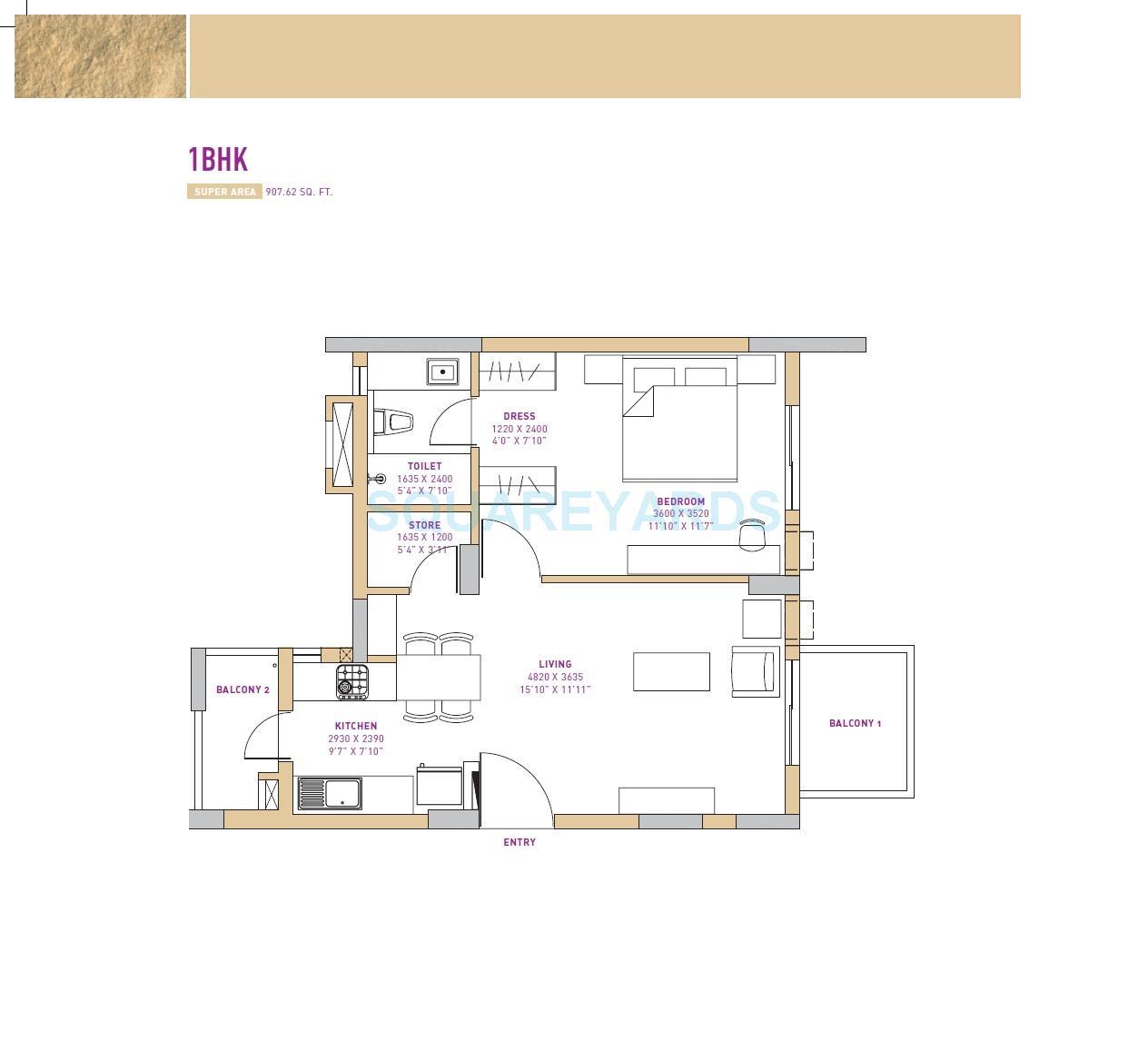 vatika seven lamps apartment 1bhk 907 62sqft 1