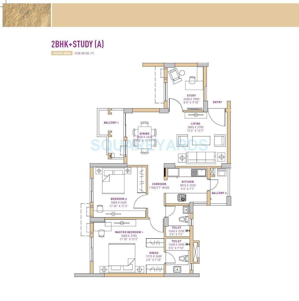 vatika seven lamps apartment 2bhk study a 1428 08sqft1