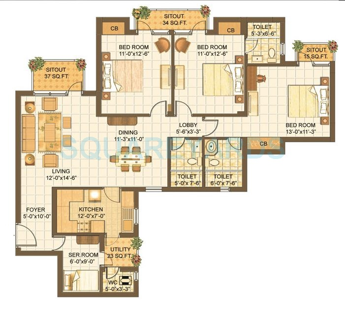 vipul lavanya apartment 3bhk 1560sqft 61