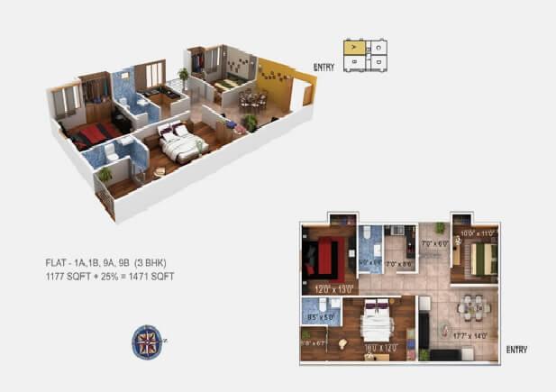 paramount grande apartment 3bhk 1471sqft1