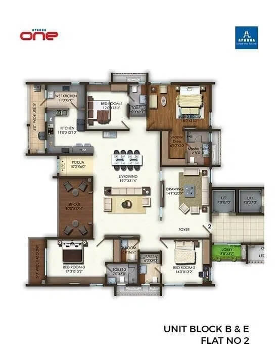 aparna one apartment 4bhk 5216sqft 1