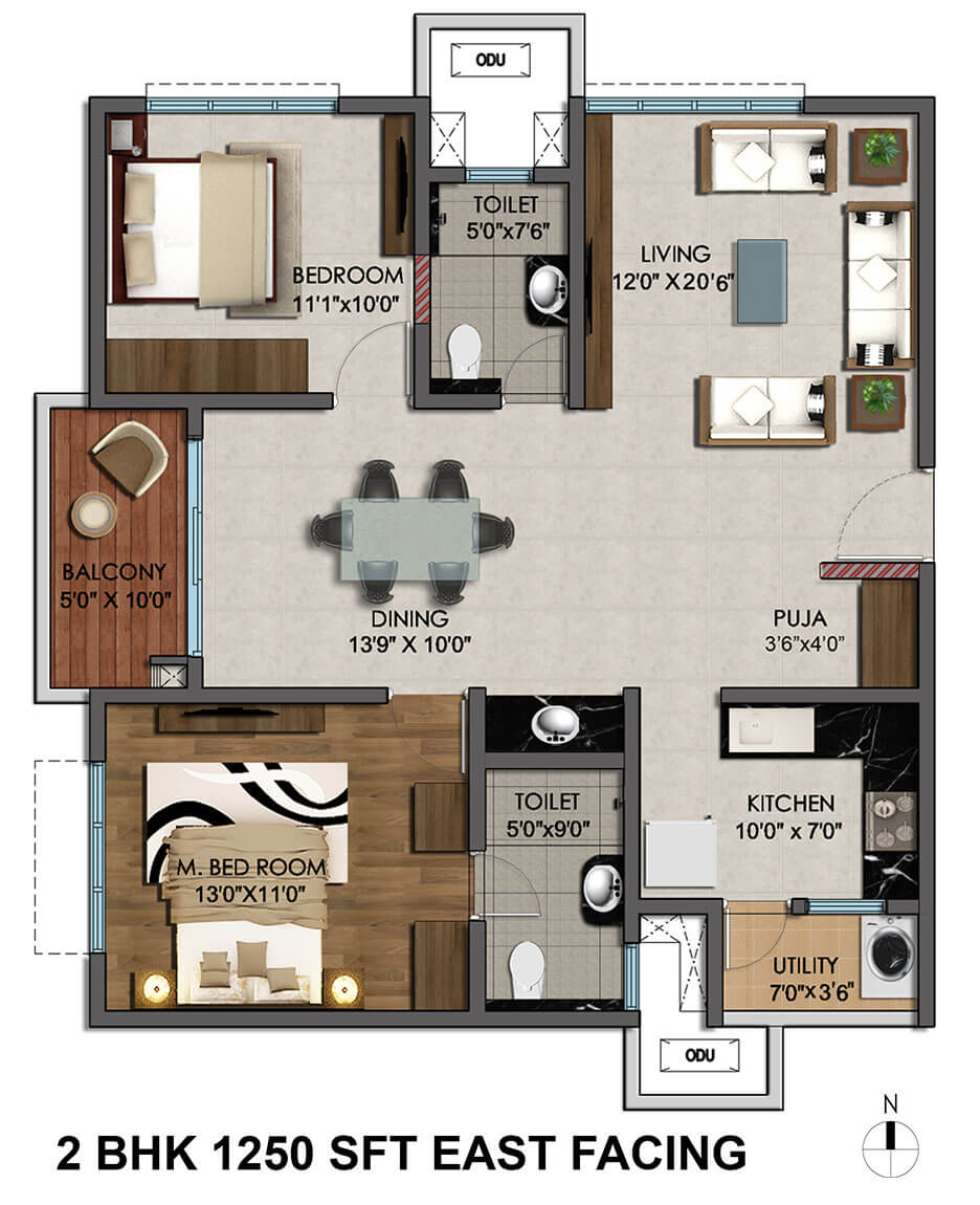2 Bhk 1250 Sq Ft Apartment For Sale In Cybercity Marina