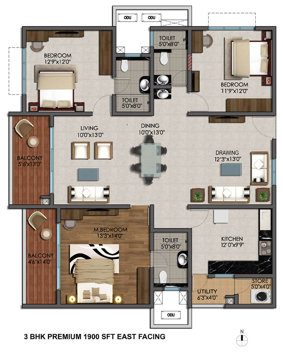 cybercity marina skies apartment 3bhk 1900sqft 1