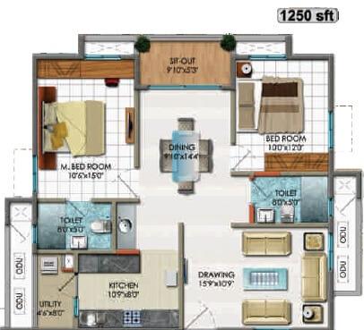 cybercity rainbow vistas apartment 2bhk 1250sqft 1