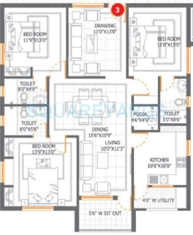dsr infrastructures aditya dsr lake side apartment 3bhk 1800sqft1