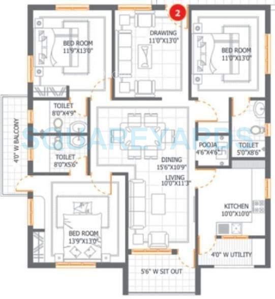 dsr infrastructures aditya dsr lake side apartment 3bhk 1870sqft1