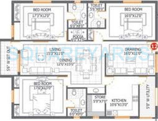 dsr infrastructures aditya dsr lake side apartment 3bhk 2310sqft1