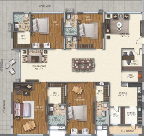 dsr ssc gvk skycity apartment 4bhk 5555sqft 21