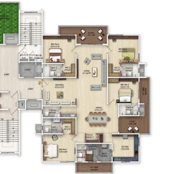 harsha sky high apartment 4bhk 5450sqft 21