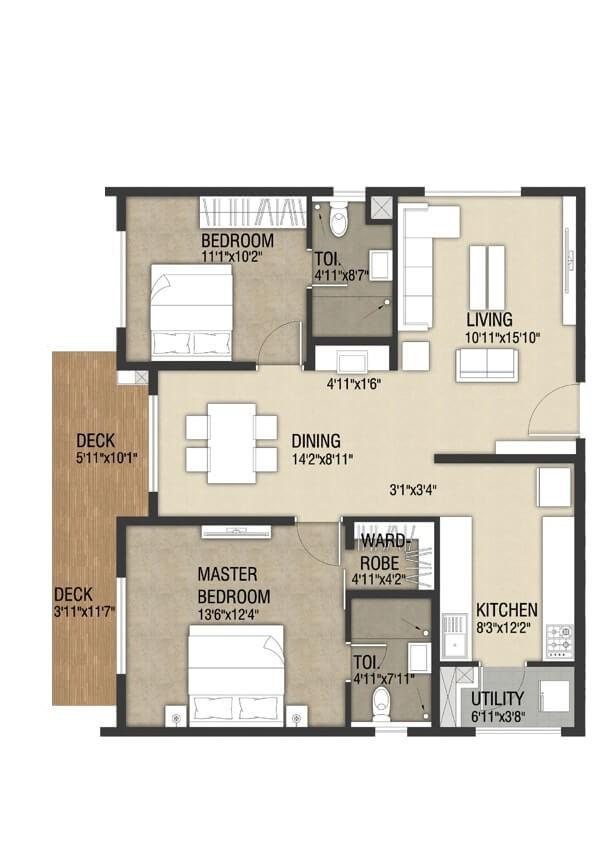 indis one city apartment 2bhk 1572sqft131