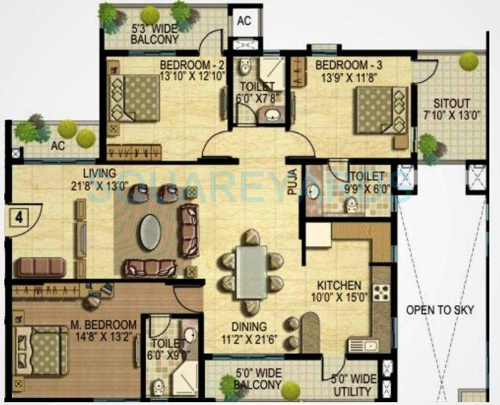 k raheja corp quiescent heights apartment 3bhk 2325sqft1