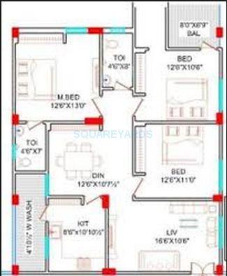 lahari greens apartment 3bhk 1675sqft1