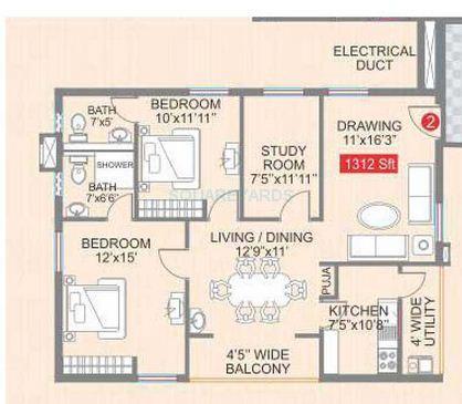 legend galaxy apartment 2bhk 1312sqft1