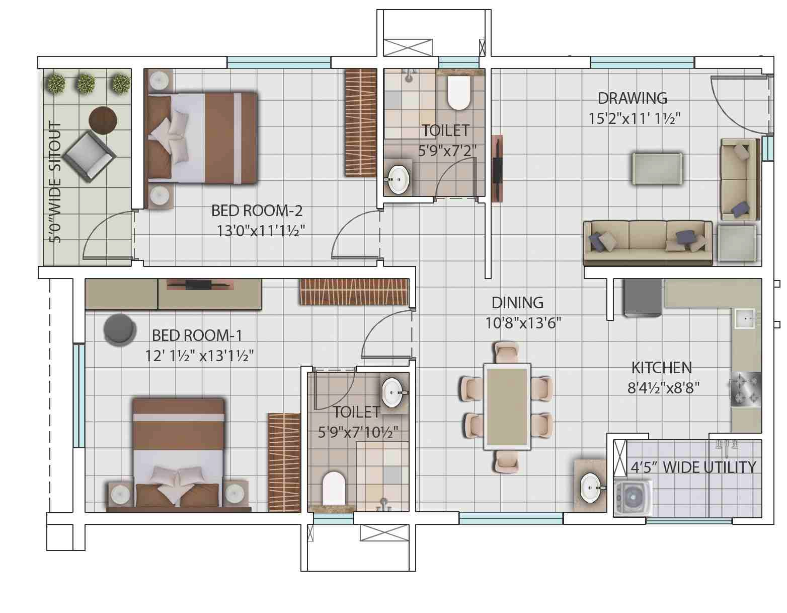 2 Bhk 1314 Sq Ft Apartment For Sale In My Home Avatar Hyderabad