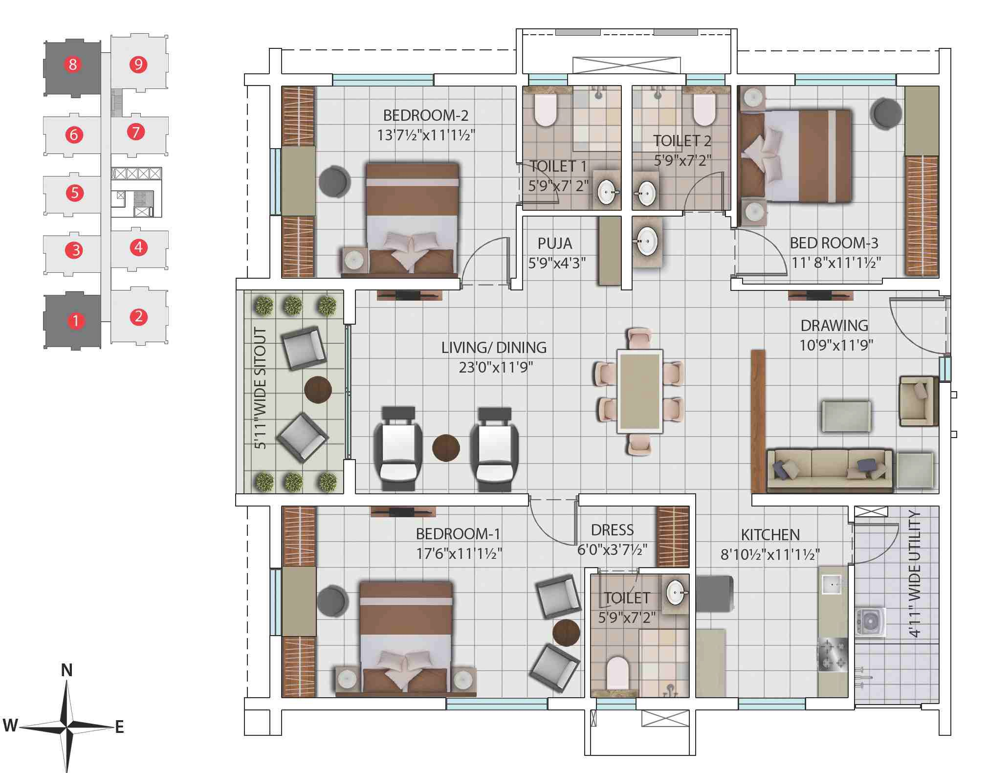 3 Bhk 1834 Sq Ft Apartment For Sale In My Home Avatar Hyderabad