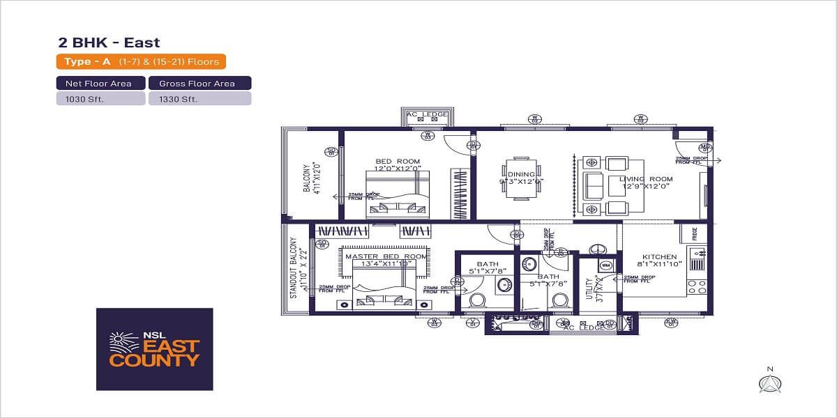 nsl east county apartment 2bhk 1330sqft 1