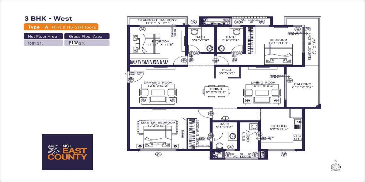 nsl east county apartment 3bhk 2108sqft 1