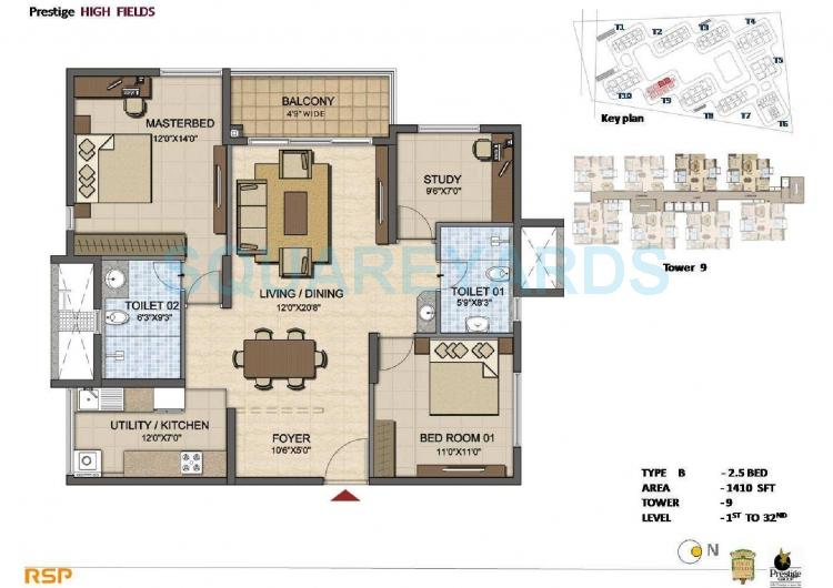 prestige high fields apartment 2bhk 1410sqft1