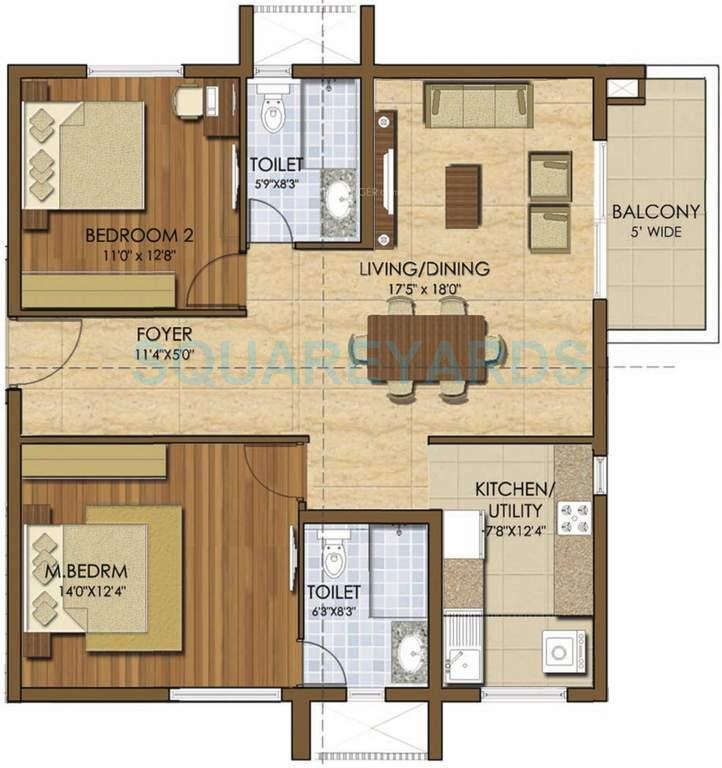 prestige ivy league apartment 2bhk 1334sqft1