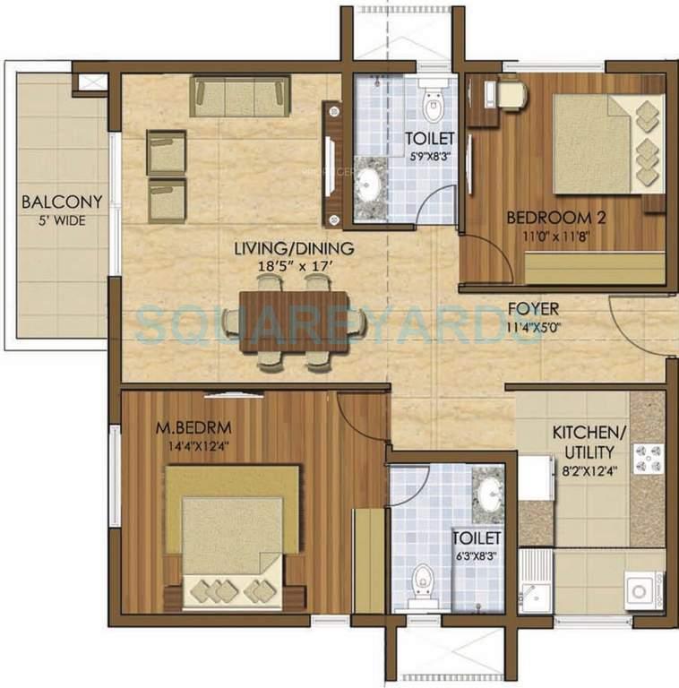 prestige ivy league apartment 2bhk 1346sqft1